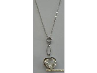Кулон цепочка серебро камень белый сердце на петле (22см
