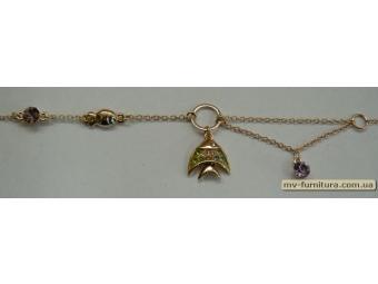 Браслет цепочка золото №12 камень цветной рыбка 21см e41a0fc2452